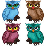 Set of four ornamental owls Stock Images