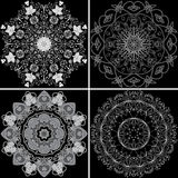 Set of four ornamental pattern. Set of four ornamental round entwined, celtic, flower, abstract pattern Stock Photos
