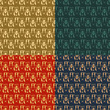Set of four ornamental seamless pattern. Stock Images