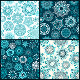 Set of four ornated floral seamless texture, endless pattern wit Stock Photo