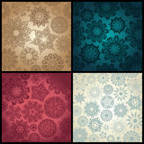 Set of four ornated floral seamless texture, endless pattern wit Stock Image