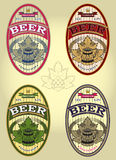 Set of four oval labels for beer Royalty Free Stock Photos