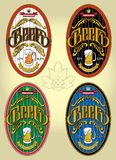 Set of four oval labels for beer Royalty Free Stock Photography