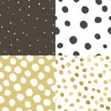 Set of four paint texture background. White, black and golden glow. Vector seamless patterns Royalty Free Stock Photo