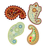 Set of four Paisley elements Royalty Free Stock Photography