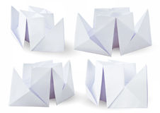 Set of four paper steamers in perspective view. Ships isolated on white background Stock Image