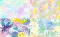 Set of four pastel steampunk backgrounds Royalty Free Stock Images