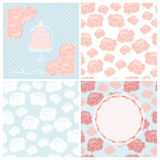 Set of four pastel wedding patterns for cards Stock Photography