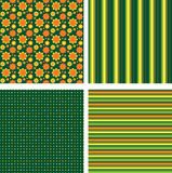 Set of four pattern. Green orange yellow wallpaper with flowers, stripe and dots Stock Photos