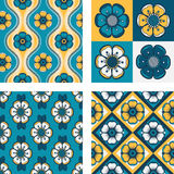 Set of four patterns with abstract flowers Royalty Free Stock Photography