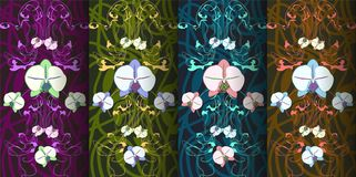 Set of four patterns in art Nouveau style.Vector illustration. royalty free illustration