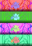 Set of four patterns in art Nouveau style.Vector illustration. vector illustration