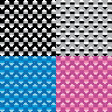 Set four patterns with black white grey blue and pink geometric decorations Stock Photography