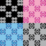 Set four patterns with blue pink grey and black circular decorations Royalty Free Stock Photos
