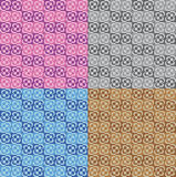 Set four patterns with colorful floral decorations Royalty Free Stock Image