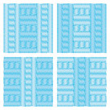 Set of four patterns that simulate knitting blue light and dark Royalty Free Stock Image