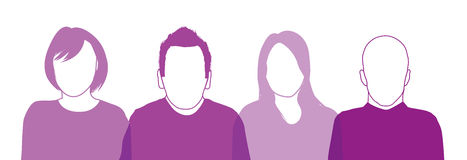 Set of four people silhouettes Royalty Free Stock Photography