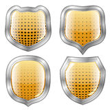 Four perforated modern shields Stock Images