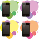 Set of four phones on different backgrounds Stock Images