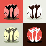 Set. four pictures. two cats in love. Set. vector silhouettes of cats in love on a different background Stock Photos