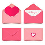 Set of four pink Valentine romantic vector envelopes Stock Photos