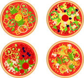 Set of four pizza. Royalty Free Stock Images