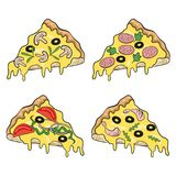 Set of various pizza pieces. stock illustration