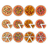 Set of four pizza types, whole and sliced into pieces. Four types of pizza, whole and sliced into pieces, sketch style vector illustration isolated on white royalty free illustration