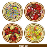Set of four pizzas Stock Images