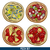 Set of four pizzas Royalty Free Stock Photo