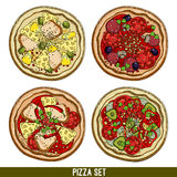 Set of four pizzas Royalty Free Stock Photography