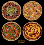 Set of four pizzas Stock Photography