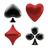 Set of four playing card suit signs Royalty Free Stock Photos