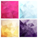 Set of four poly backgrounds for your design Royalty Free Stock Images