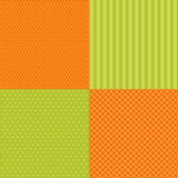 Set of four popular primitive retro patterns in autumn colors Royalty Free Stock Photo