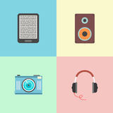 Set of four portable devices. Concept of electronic and multimedia. template elements for web and mobile applications. flat design modern vector illustration Stock Photos