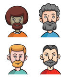 Set of four portraits of bearded men Royalty Free Stock Images