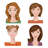 Set of four portraits. Female characters. Female characters. Good for avatars Stock Photography