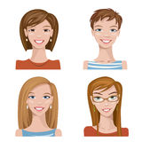 Set of four portraits. Female characters. Female characters. Good for avatars Stock Photos