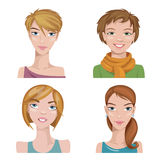 Set of four portraits. Female characters. Female characters. Good for avatars Stock Images