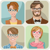 Set of four portraits of hipsters. Set of four portraits of hipsters, two men and two women Royalty Free Stock Photos
