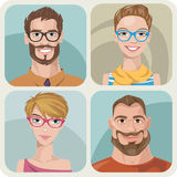 Set of four portraits of hipsters. Set of four portraits of hipsters, two men and two women Royalty Free Stock Image