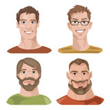 Set of four portraits. Male characters. Male characters. Good for avatars Stock Images