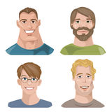 Set of four portraits. Male characters. Stock Image