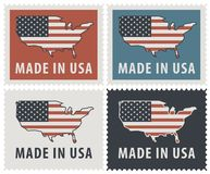 Set of four postage stamps with American flag. Vector set of four postage stamps of the United States of America. Image of the map of America in colors of the Stock Images