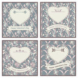 Set of four postcards for St Valentine Day Royalty Free Stock Photography