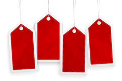 Set of four price red paper tags Stock Photo