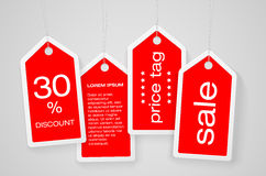 Set of four price tags with sample text Stock Photos