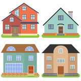 Set of four private houses on a white background. Vector illustration Royalty Free Stock Images