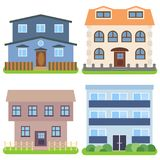 Set of four private houses on a white background. Vector illustration Stock Images